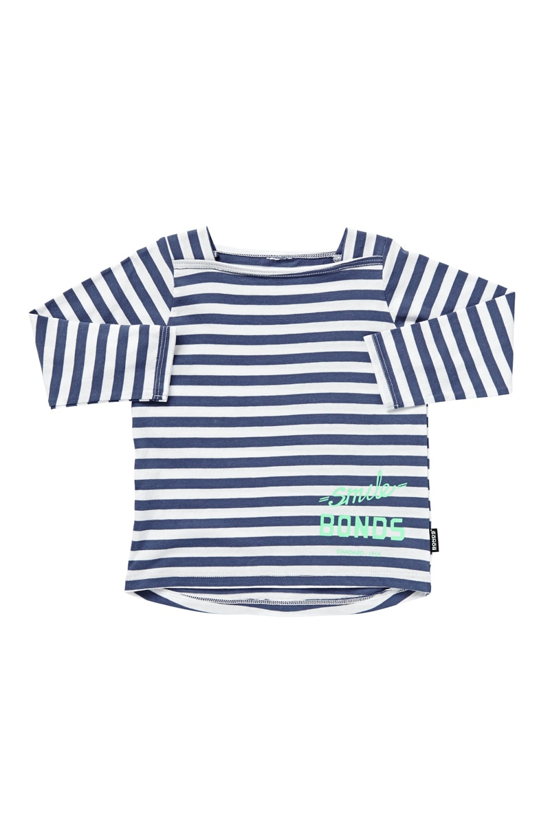Bonds Baby Clothing - Stripe Long Sleeve Tee - Magnesium Blue & White Stripe - 6-12 Mths (0)