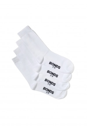 Bonds Kids School Crew Socks 4pk White