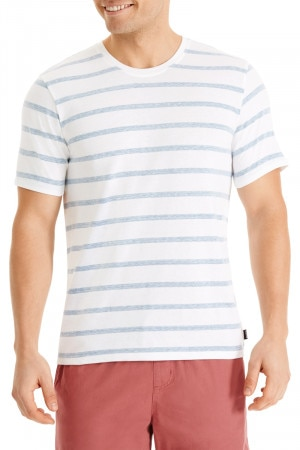 Bonds Triblend Stripe Crew Tee White & Granite Green AYE7I 42R