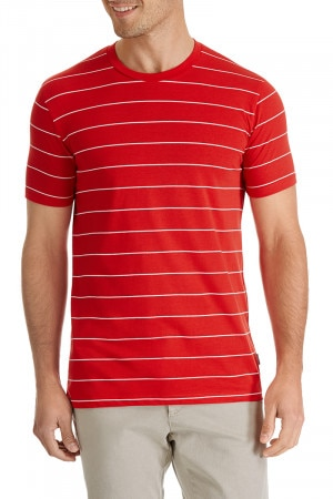Bonds Stripe Basic Crew Tee Risky Red & White