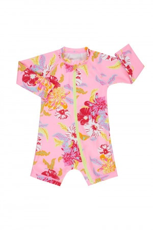 Bonds Baby Swim Long Sleeve Zip Suit Hawaiian Hangout Pink Crush