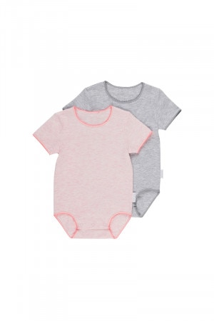 Bonds Frenchies Short Sleeve Bodysuit 2 Pack Pink Blossom & Luxe Grey Marle