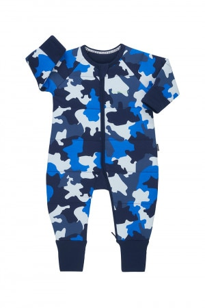Bonds Padded Zip Wondersuit Denim Camo Little Blue