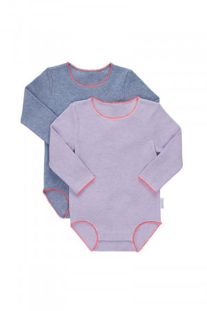 Bonds Frenchies Rib Long Sleeve Bodysuit 2 Pack Surf Wash Lilac Web, Surf Wash Lavender BXQ6A PK1