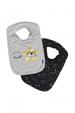 Bonds Stretchies Tee Bib New Grey Marle & Black