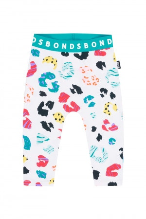 Bonds Stretchies Legging Leopard Meets Zebra White