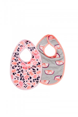 Bonds Stretchies Bib 2 Pack Petal Leopard BY3JA PK2