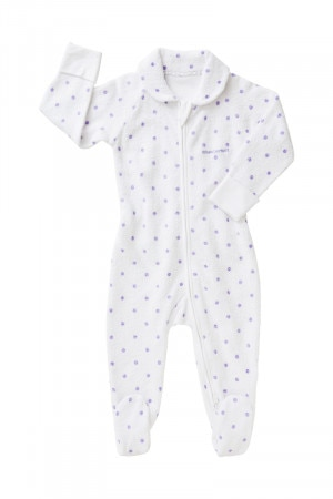 Bonds Newbies Zip Poodlette Coverall Pretty Lavender & White