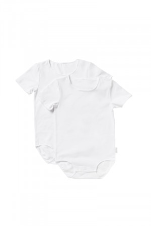 Bonds Wonderbodies Short Sleeve Bodysuit 2pk White & White BY4TA PK7