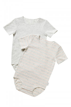 Bonds Wonderbodies Bodysuit 2 Pack Pink Pearl Stripe  &  Specked Snow