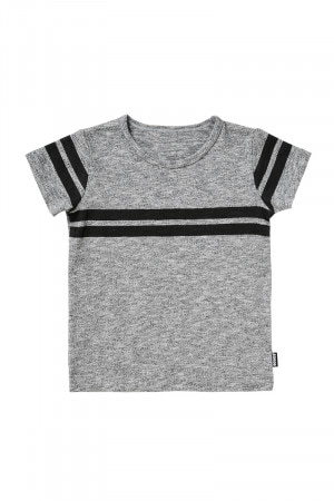 Bonds Placement Print Tee Sporty Stripe Salt And Pepper