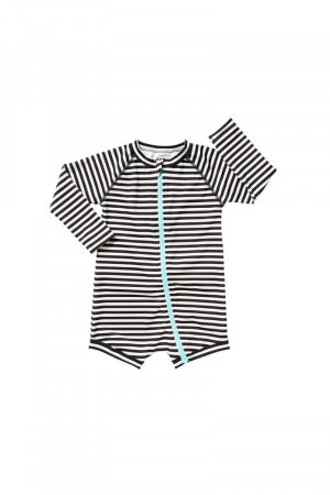 Bonds Swim Zip Suit Mono Stripe Black
