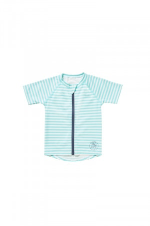 Bonds Swim Zip Short Sleeve Rashie Mono Stripe