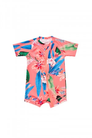 Bonds Short Sleeve Swim Zip Suit Sunset Floral