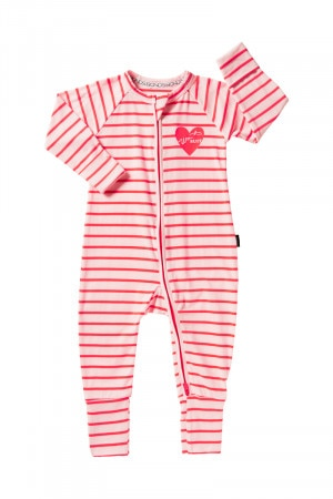 Bonds Zip Wondersuit Pink Stripe Valentines