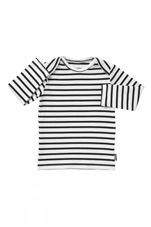 Bonds Stretchies Long Sleeve Tee Black & White Stripe BYLL 71R
