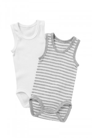 Bonds Singletsuit 2Pk New Grey Marle Stripe & White