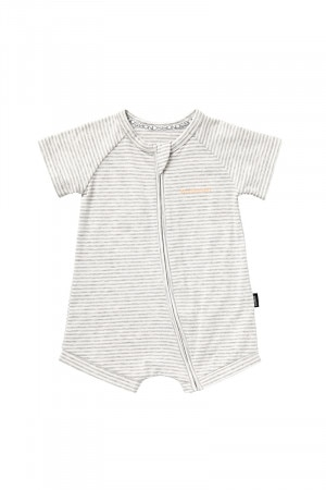Bonds Zip Wondersuit Romper Grey Marle & White BYX3A 69R