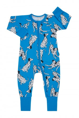 Bonds Personalised Zip Wondersuit Dalmatian Station Blue BZBVA LI9
