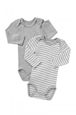 Bonds Long Sleeve Bodysuit 2PK New Grey Marle Stripe & White