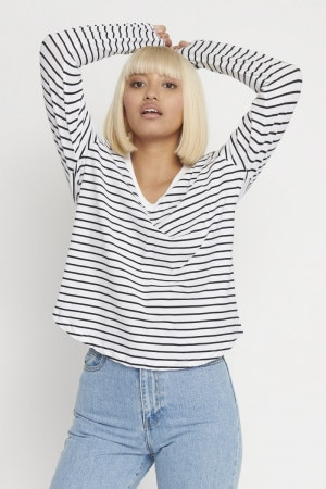 Bonds Long Sleeve Vee Tee Everyday Stripe