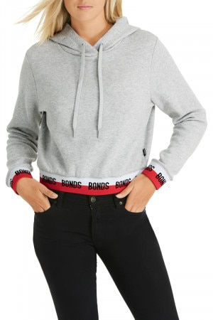 Bonds New Era Cropped Hoodie New Grey Marle