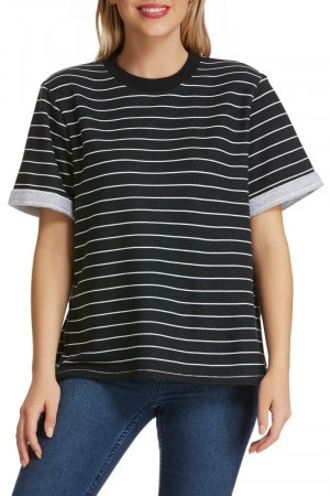 Bonds Stripe Tee Black & White Stripe