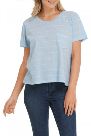 Bonds The Boxy Tee Poolside Stripe Washed Arielle & Nu White CWT3I 28H