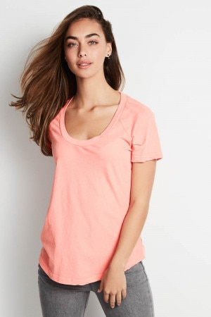 Bonds The Scoop Tee Washed Pink Suede