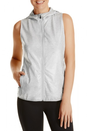 Bonds Sleeveless Windbreaker New Grey Marle CWUTI NWY