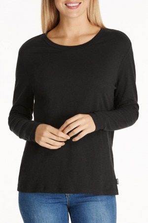 Bonds Linen Touch Long Sleeve Tee Black