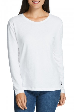 Bonds Linen Touch Long Sleeve Tee White