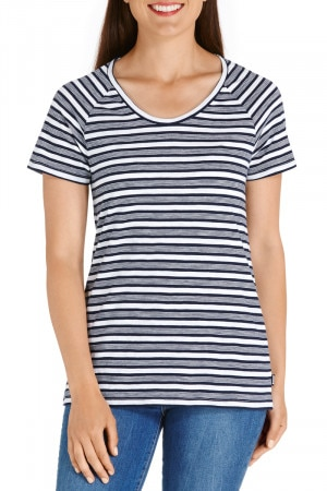 Bonds Besties Slub Raglan Tee Retro Stripe Yds Deep Arctic