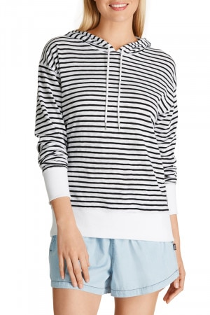 Bonds Light Weight Hoodie Standard Stripe White & Black