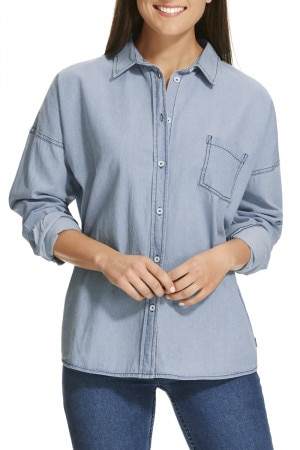 BONDS Heavy Woven Oversized Shirt Summer Blue CXMDI F62