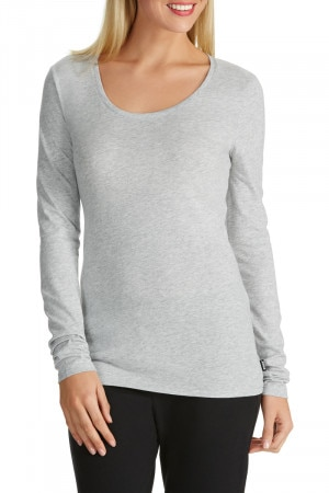 Bonds Long Sleeve Scoop Tee New Grey Marle