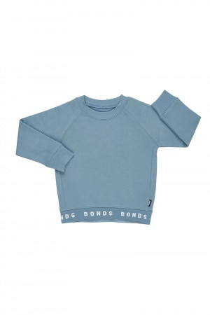 Bonds Kids Logo Fleece Pullover Blue Marble