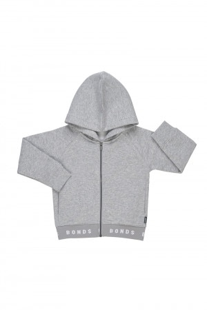 Bonds Kids Logo Fleece Hoodie New Grey Marle