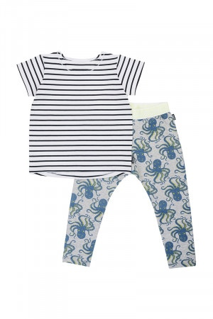 Bonds Kids Short Sleeve Sleep Set Octopus Party New Grey Marle