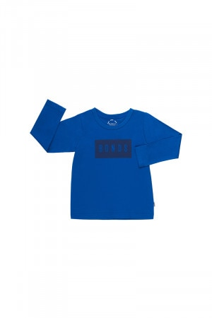 Bonds Kids Long Sleeve Crew Tee Blue Grotto