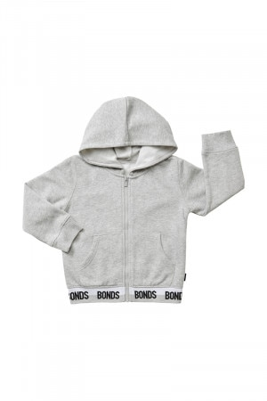 Bonds Kids Logo Zip Hoodie New Grey Marle & Black