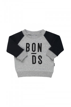 Bonds Cool Sweats Logo Pullover New Grey Marle & Black
