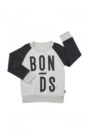 Bonds Kids Cool Sweats Logo Pullover New Grey Marle & Black