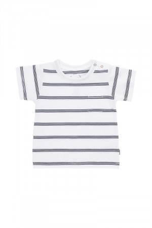 Bonds Aussie Cotton Tee Basic Stripe White & Black