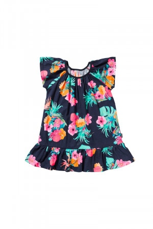 Bonds Girls Jersey Ruffle Dress Cooee Kids Deep Arctic