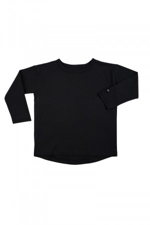 Bonds Kids Long Sleeve Rugby Tee Black KYM7K BAC