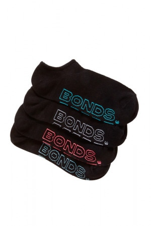 Bonds Womens Logo Lite No Show Sport Socks 4 Pack Pack 10 LYQD4N 10K