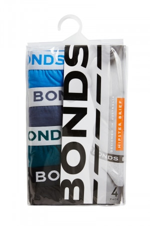 Bonds Elastic Hipster Brief 4 Pack Blue Note / Grey Hound / Rainforest Patrol / Black
