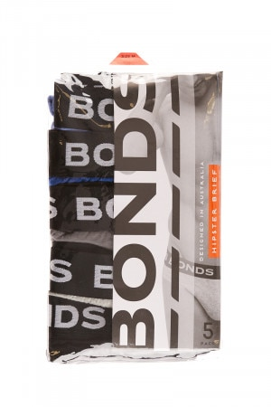 Bonds 5 Pack Hipster Brief Assorted