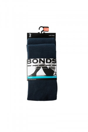 Bonds Kids School Tights 2 Pack Navy R6312N NAV